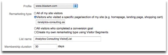 Google Analytics Remarketing Lists - Viewed Specific Page Example