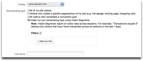 Google Analytics Remarketing Lists - Visitor Segment Example