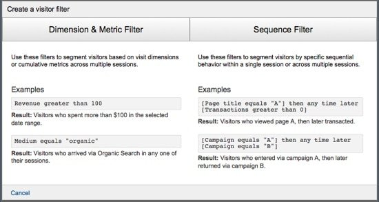 Google Analytics Remarketing Lists - Visitor Filter Example