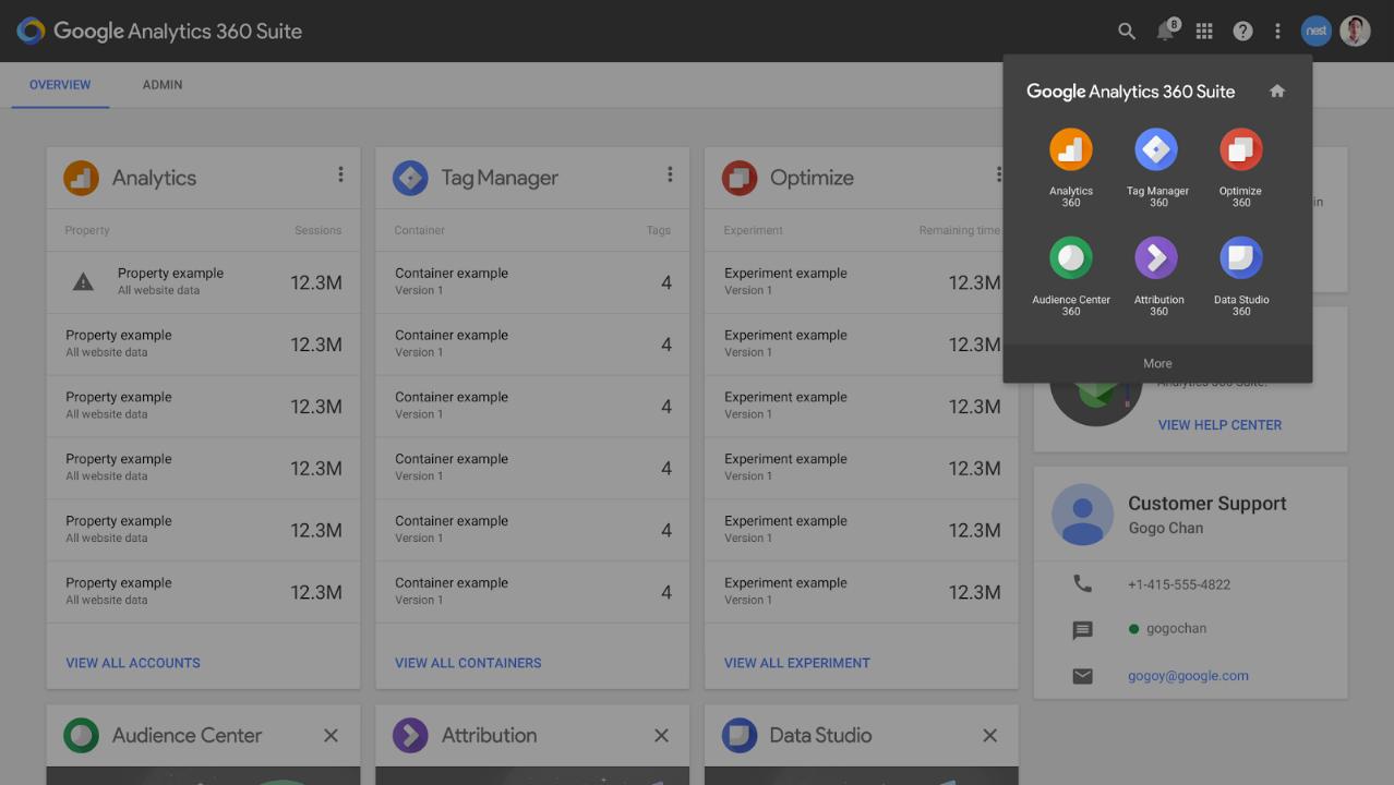 Google Analytics 360 Suite user interface screenshot