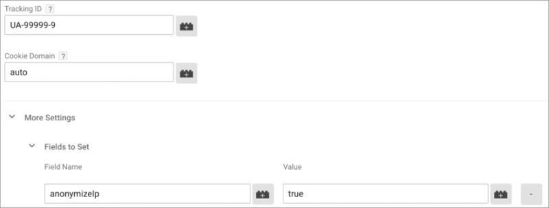 screenshot of google analytics anonymizelp settings