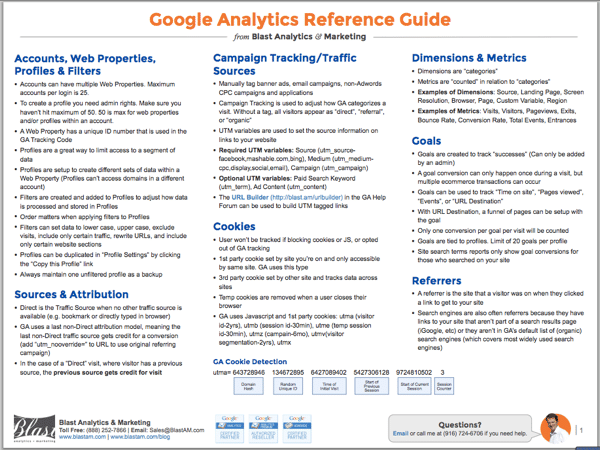 Google Analytics Reference Guide pg 1 [screenshot]