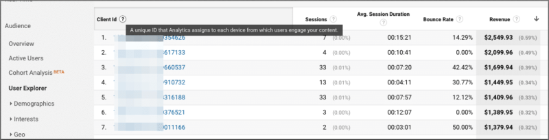 screenshot client id dimension in google analytics user explorer report