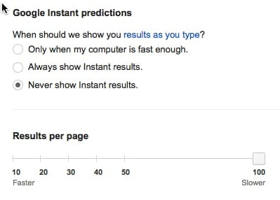 Google search results instant predictions