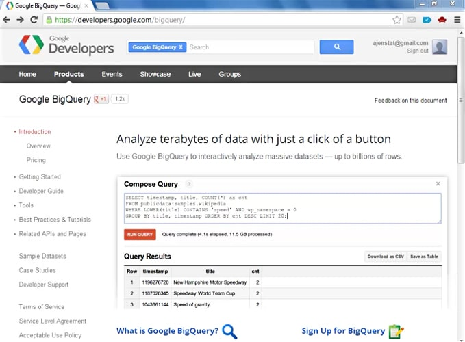 Google BigQuery Website