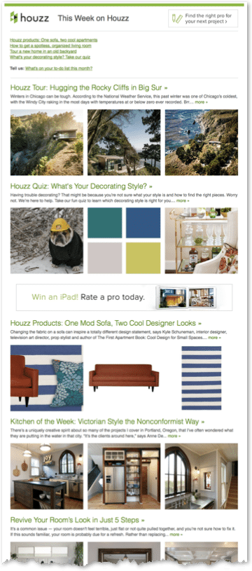 Houzz Email Newsletter Example