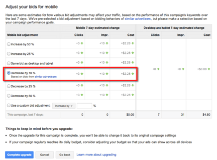 mobile bid adjustments for adwords enhanced campaigns