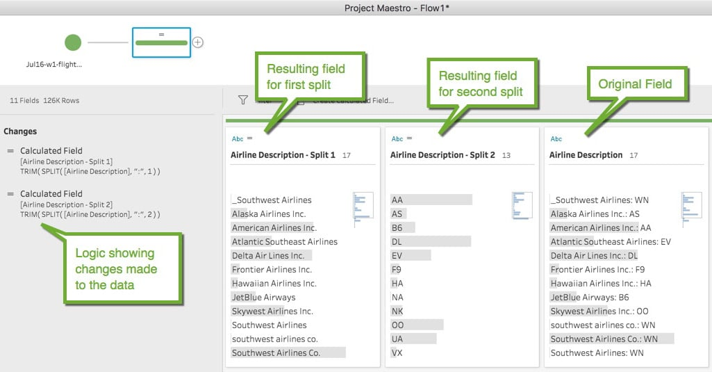 Screenshot of splitting data into other fields in project maestro