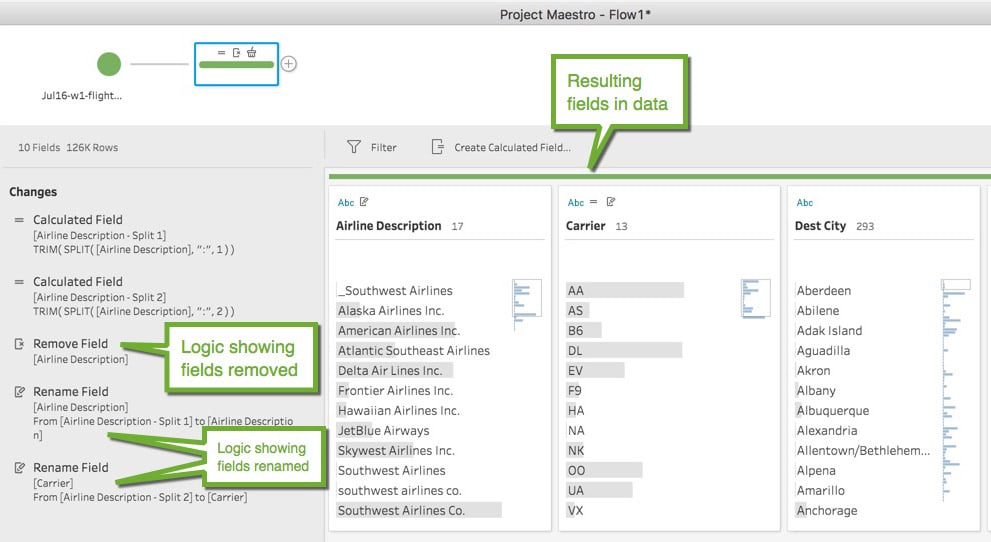 Screenshot of renaming fields in tableau project maestro