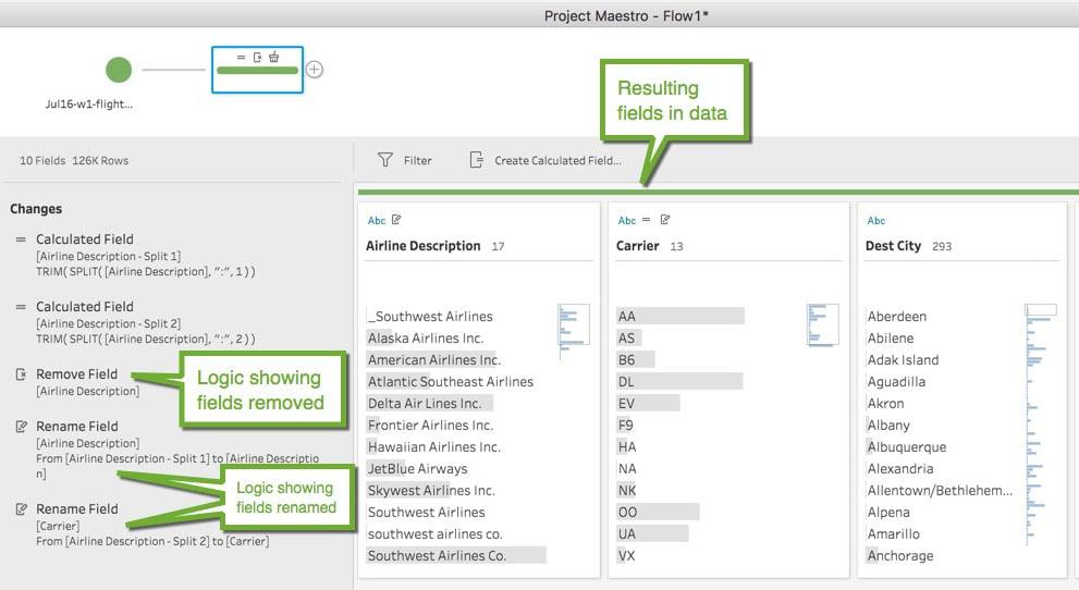 Screenshot of renaming fields in tableau project maestro