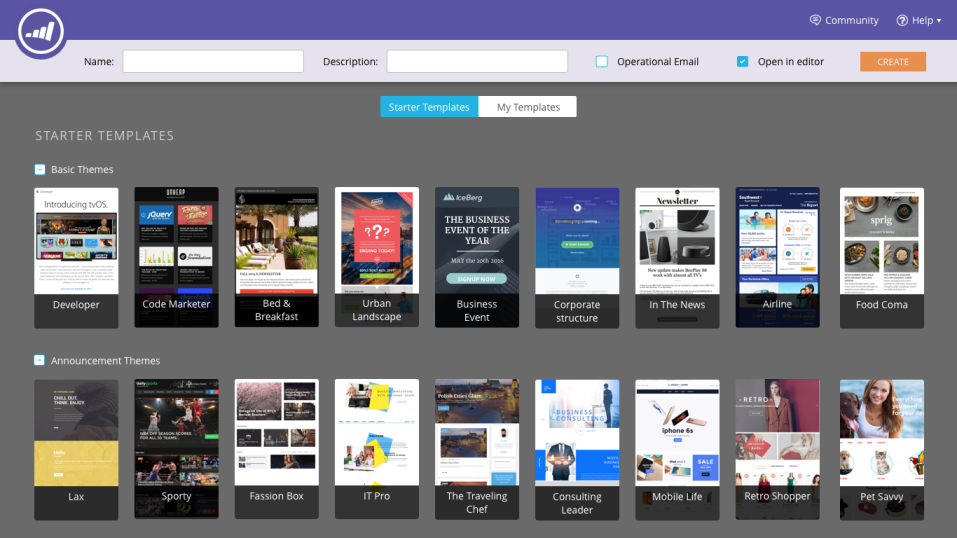 screenshot of marketo starter email templates