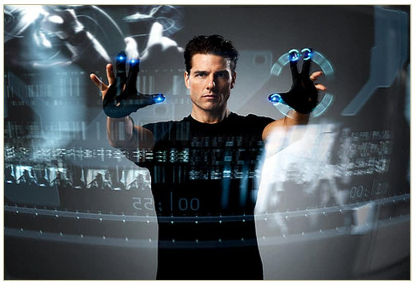 Tom Cruise in the Minority Report uses direct manipulation to interface his data and to wow audiences.