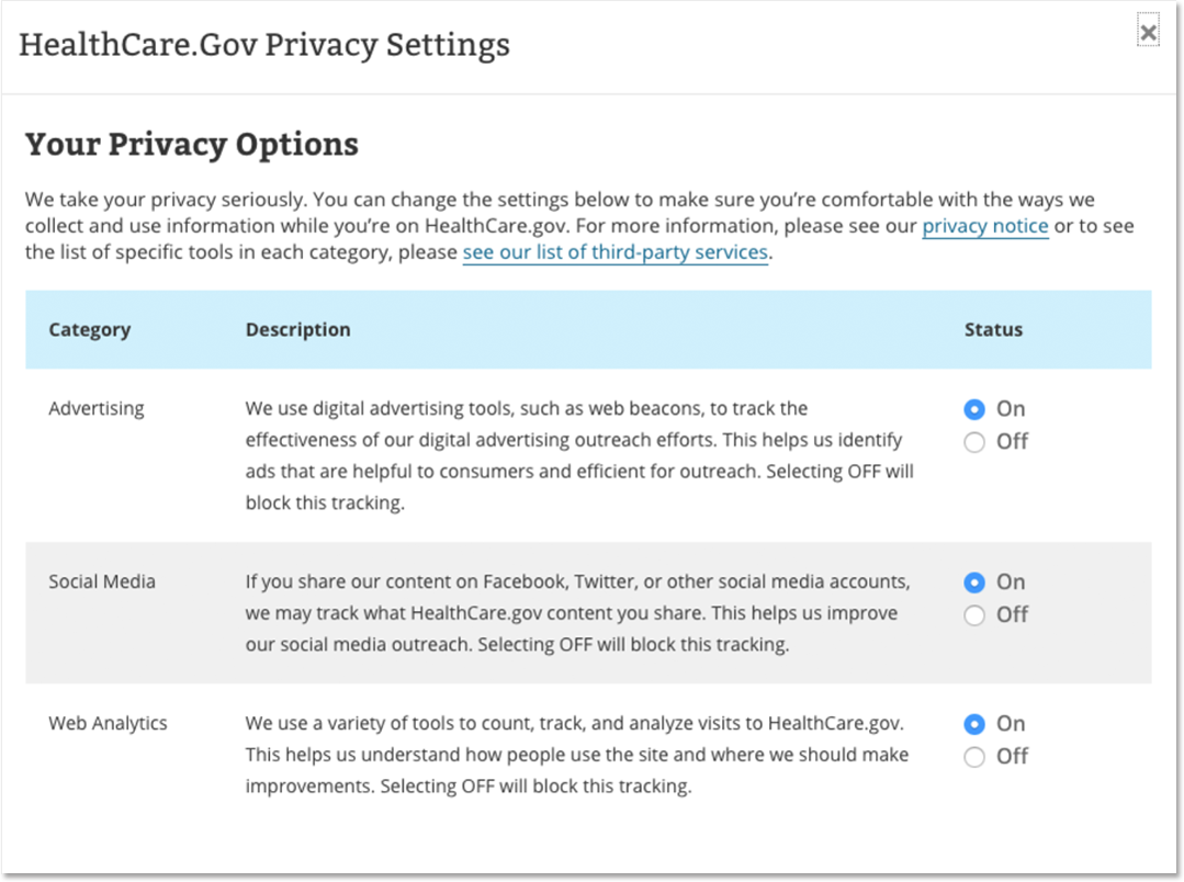 CMS privacy wizard window