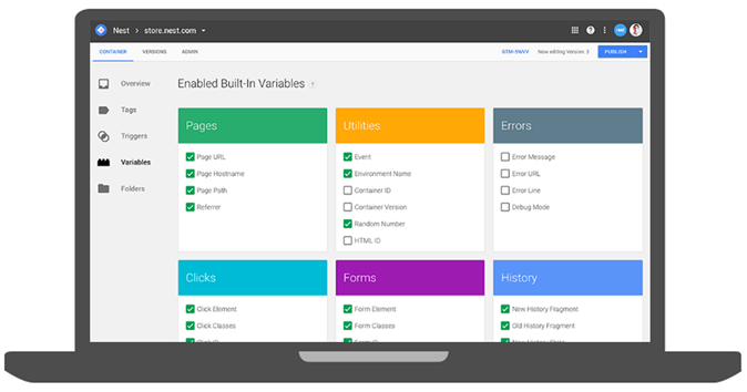 Google Tag Manager 360 UI Screen Example