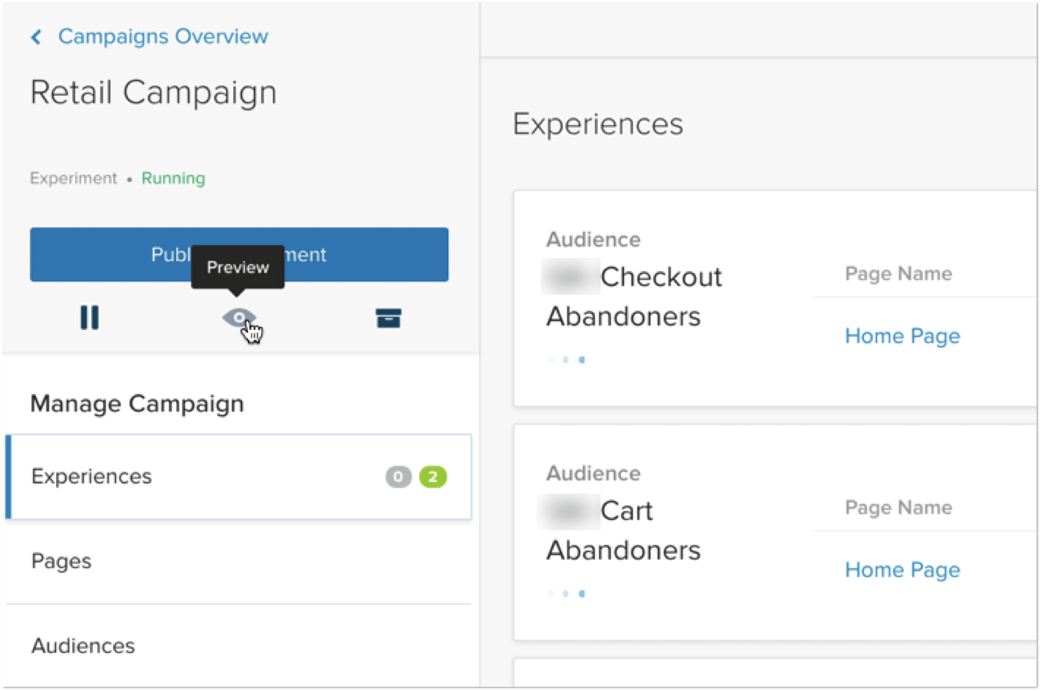 image of optimizely personalization campaigns overview screen