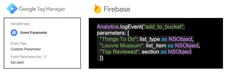 image representing gtm event parameter and firebase code
