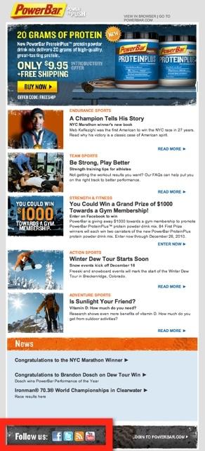 PowerBar Newsletter Screenshot