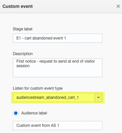 screenshot of responsys custom event configurator