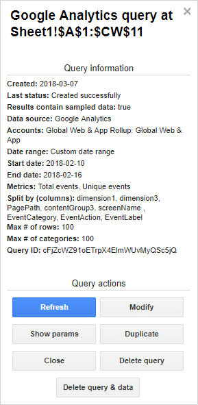screenshot of google analytics query options