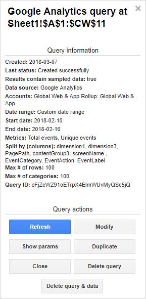screenshot of google analytics query options