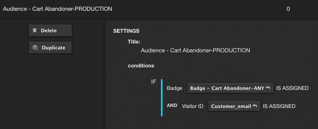 screenshot showing AudienceStream cart abandoner criteria