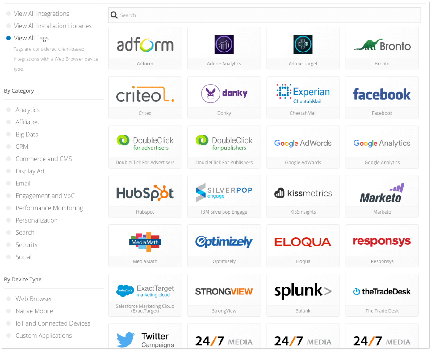visual list of Tealium tag integrations