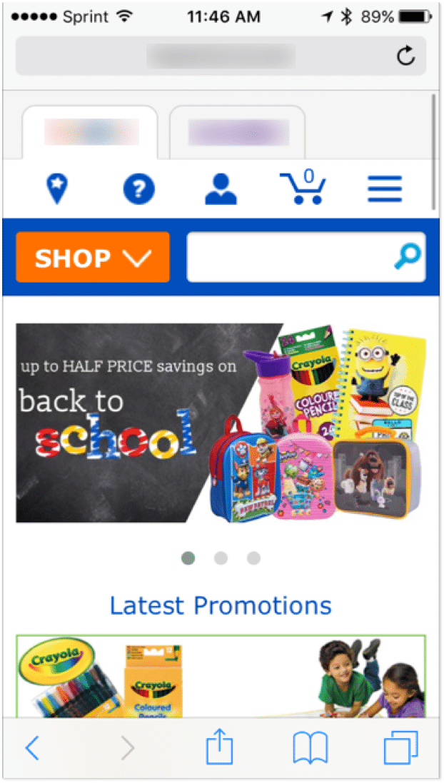 image of toy retailer mobile website