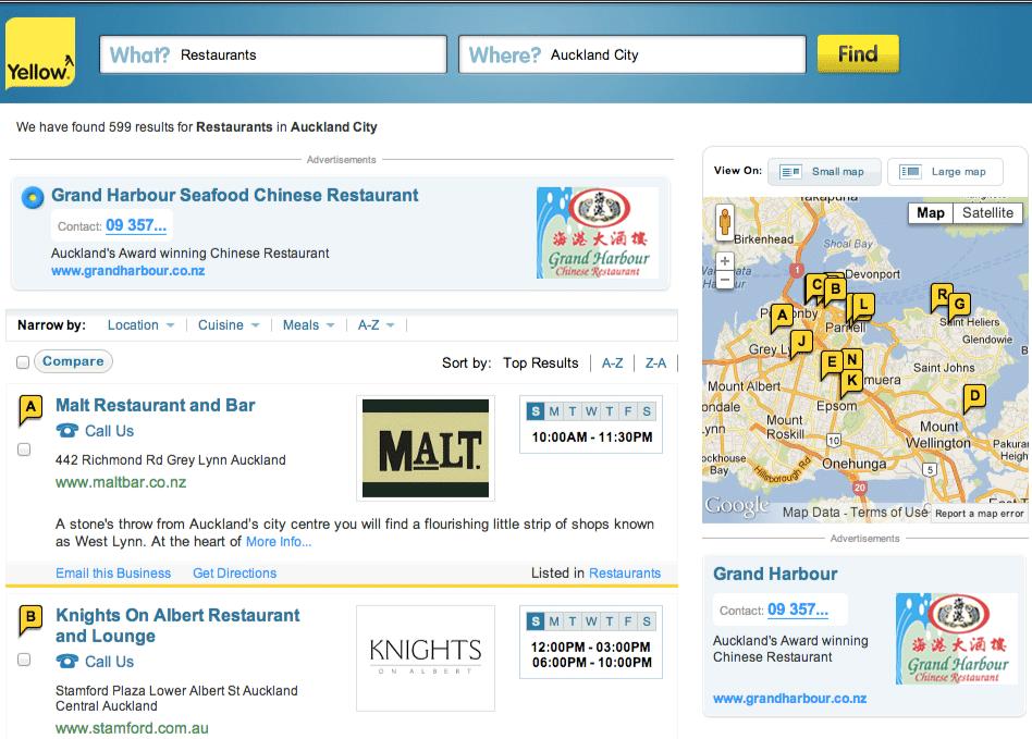 Yellow Restaurant Search